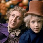 William Wonka (left) after naming Charlie Bucket (right) the new CEO of Wonka Industries.